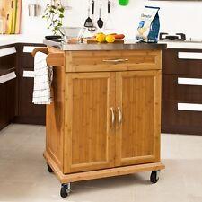 SoBuy® Küchenwagen mit Edelstahltop,Servierwagen,Küchenschrank,Bambus,FKW13-N