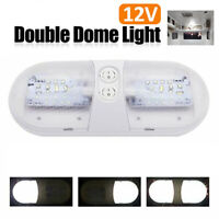 1x 12V White Double Dome Light Car RV Camper Boat Interior Roof Ceiling LED Lamp
