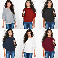 Women's Batwing Sleeve Knitted Sweater Casual Tops Jumper Casual Loose Fit Shirt