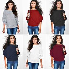 Women Batwing Sleeve Knitwear Knitted Sweater Tops Jumper Casual Blouse AU 6-16