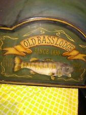 "Old Bass Lodge - Wooden novelty 24x 16"" mounted fish . Fun conversation piece."