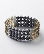NWT Ann Taylor Loft Grey Pearlized Bead and Gem Stretch Bracelet #8a