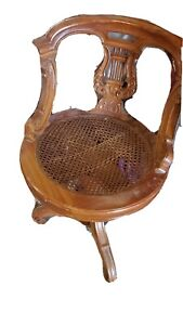 Mahogamy Wood Carved Lyre Back Cane Seat Chair