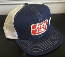 Vintage Frito Lay Trucker Hat Cap Denim USA Made with Patch SnapBack Adjustable