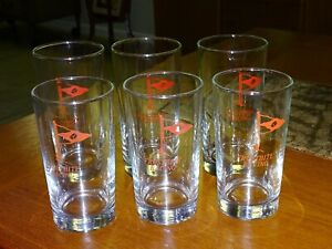 """Vintage Nautical Ship """"Frostbite Racing"""" Sail Boats Drinking 6 Glasses"""