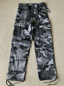 NWT Men's Regal Wear City Gray Camouflage Camo Belt Cargo Pocket Pants ALL SIZES