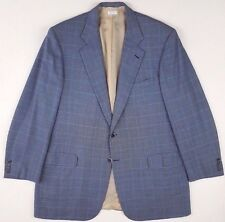 BRIONI Blazer 46L Blue NOMENTANO Windowpane WOOL Silk CHECKED Mens SIZE Vented**