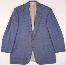 BRIONI Blazer 46L Blue NOMENTANO Windowpane WOOL Silk CHECKED Mens SIZE Vented**