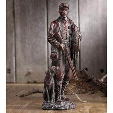 Bronze Duck Hunter Statue with Labrador Dog Shotgun Bird Man Cave Hunting Lodge