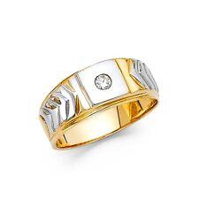 Mens Engagement Ring Solid 14k White Yellow Gold Wedding Band Round CZ Satin