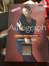 M&S AUTOGRAPH Size 22 Ladies BLACK THERMAL with CASHMERE LONG Sleeve V Neck BNWT