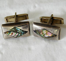 Vintage abalone shell cufflinks men or ladies silver coloured fittings H