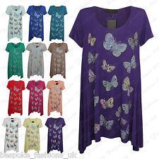 Ladies Womens Beaded Butterfly Short Sleeve Hanky Hem Baggy Top Dress Plus 14-28