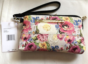 Betsey Johnson Double Zip Wristlet/Pouch Natural White & Floral Print NWT