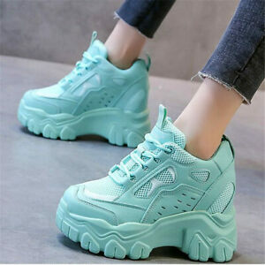Fashion Sneakers Women Breathable Platform Wedge High Heel Ankle Boots Casual