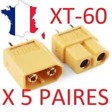 XT60 - Lot de 5 paires connecteurs XT60 XT-60 conector - Idéal connectique drone