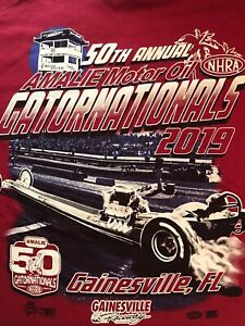 NHRA DRAG RACING 2019 50th GATOR NATIONALS RETRO Red  T- SHIRT  SIZE  SMALL