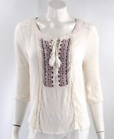 Maurices Top Plus Sz 0 XL White Embroidered Boho Peasant Blouse Tie Neck Womens