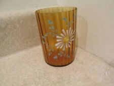 S38 ANTIQUE AMBER COLORED RIBBED ENAMELED FLORAL  TUMBLER DAISES VINES BLUE BUDS