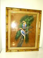 "Large Vintage Bamboo Gold Frame Bird Picture 18""x22"""