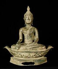 "19th Century Antique U Thong Enlightenment Boat Buddha Statue - 38cm/15"""