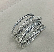 0.20 Ct White Round Diamond Crossover Wide Cable Pave Ring 925 Sterling Silver