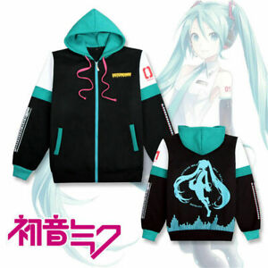 Anime Hatsune Miku Cosplay Coat Hoodies Unisex Sweatshirt Costume Zipped Jacket