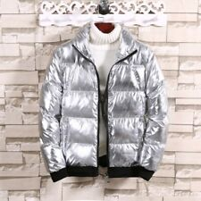 Mens Stand Collar Jacket Cotton Padded Coat Outwear Shiny Quilted Puffer Winter