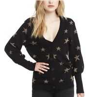 NWOT Chaser Brand Gold Star Button Down Black Cardigan Sweater Sz M; $97 Retail