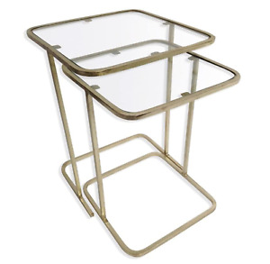 Culinary Concepts Set of 2 Square Side Tables - Gold Finish (Ex Display)