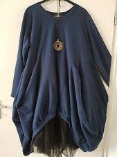 KEKOO breites Ballonkleid Vokuhila Kleid  Polar Fleece Farbe Royalblau Gr. 48/52