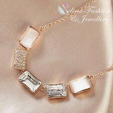 18K Rose Gold Plated Made With Swarovski Crystal & Opal Five Rectangle Necklace