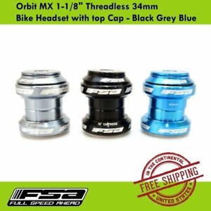 "FSA Orbit MX 1-1/8"" Threadless 34mm Bike Headset with top Cap - Black Grey Blue"