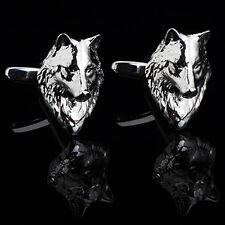 1 pair wolf cufflinks,wolf head cuff links,wolf head cufflinks,silver color