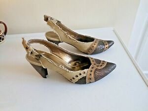 PORTUGESE MADE SLINGBACK CANVAS 'SHABBY LOOK' HIGH HEELS SIZE 4