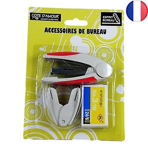 Kit Agrafeuse + Boîte d'agrafes + Ote-agrafe - Lot Accessoires de bureau