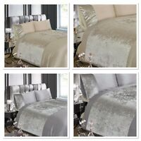 Luxury Crushed Velvet Silver Grey or Champagne Duvet Quilt Cover Bedding Sets