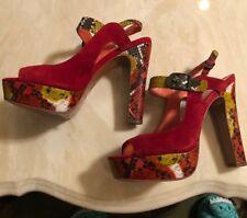 Via Spiga Sz 7.5m Red Animal Print Platform Shoes