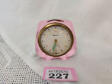 RARE VINTAGE PINK ACRYLIC BLESSING GERMAN 'BRASS ALARM CLOCK IN WORKING ORDER