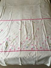 Double Duvet Cover White With Embroidered Flowers And Ribbon