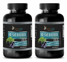 Organic Resveratrol Powder 1200mg Anti-Aging Antioxidant 2 Bottles 120 Capsules