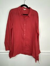Eileen Fisher Womens Red Long Sleeve Linen Button Down Collar Shirt Size Large