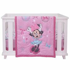 """Disney Baby Minnie Mouse """"All About Bows"""" 4 pc Nursery Crib Bedding Set"""