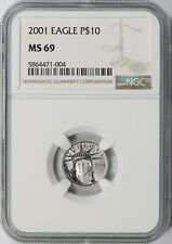 2001 $10 Platinum Eagle Statue of Liberty NGC MS69