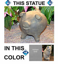 "Chanchito Pig Hog Boar 9"" Cement Garden Statue Natural Gray Concrete Good Luck"