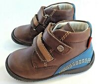 Kickers sturdy baby walking shoe US 5.5 brown leather 2 strap closure