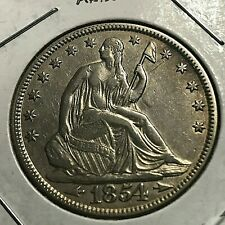 1854 W/ARROWS  SEATED LIBERTY SILVER HALF DOLLAR NEAR UNCIRCULATED COIN