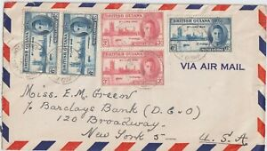 1946 BRITISH GUIANA MULTIFRANCHISING AIRMAIL COVER 6th JUNE TO US