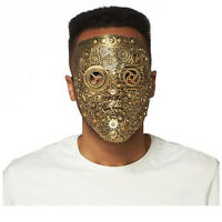 Adult Cyber Gold Gears Mask Clockwork Halloween Costume Steampunk Face Mask