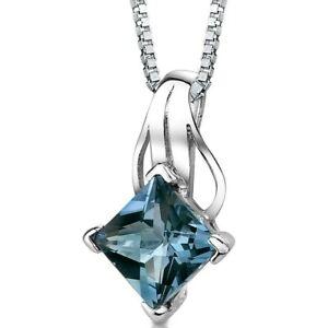 "3 ct Princess London Blue Topaz Sterling Silver Pendant Necklace, 18"""